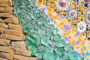 Art Glass Mosaic Glass Art Posters - Mosaic Texture  Poster by Niphon Chanthana