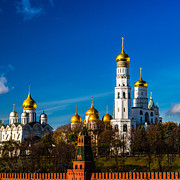 Archangel Photo Prints - Moscow Kremlin Cathedrals - Square Print by Alexander Senin