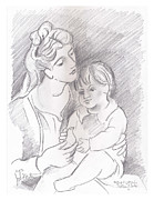 Child Drawings Originals - Mother and Child by John Keaton