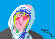 Religious Artist Drawings Metal Prints - Mother Teresa Metal Print by Anita Dale Livaditis