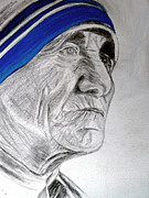 Spiritual Drawings Drawings Originals - Mother Teresa by Seshadri Sreenivasan