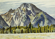 Landscape Posters Painting Framed Prints - Mount Moran Framed Print by Edward Hopper