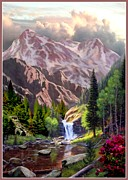Montana Digital Art - Mountain Cascade by Ronald Chambers