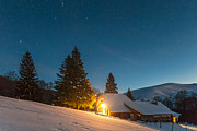 Nightscape Prints - Mountain Hut Print by Evgeni Dinev