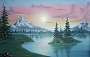 Art-santoro Framed Prints - Mountain Lake Painting a la Bob Ross 1 Framed Print by Bruno Santoro