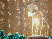Oil  Etc. Paintings - Mountain Lion Oil Painting by William Sahir House