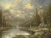 Canoe Waterfall Framed Prints - Mountain Majesty Framed Print by Thomas Kinkade
