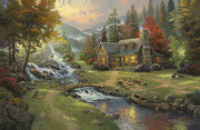River Cabin Framed Prints - Mountain Paradise Framed Print by Thomas Kinkade