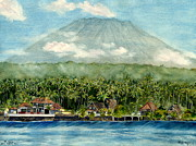 Asian Paintings - Mt. Agung Bali Indonesia by Melly Terpening