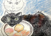 Cat Pastels - Muffin In The Peach Bowl by Denise Fulmer