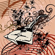 Acoustic Guitar Drawings - Musical Backgrounds with instraments by ClipartDesign