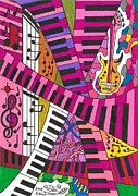 Musical Notes Drawings Prints - Musical Wonderland Print by Maverick Arts