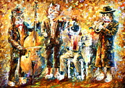 Band Painting Originals - Musician Cats by Leonid Afremov
