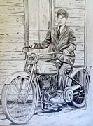 Featured Drawings Posters - My Grandpas Harley Poster by Charles Rogers