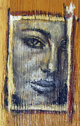 Young Reliefs Prints - Mysterious Girl Face Portrait - Painting On The Wood Print by Nenad  Cerovic