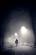 Mysterious Stranger Framed Prints - Mystery Man In Fog Framed Print by Lee Avison
