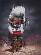 Native American Portrait Framed Prints - Mystic Dancer Framed Print by Ricardo Chavez-Mendez