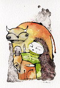 Whimsical Mixed Media Prints - Mythos 2 Print by Mark M  Mellon