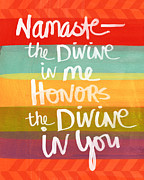 Yellow Mixed Media Metal Prints - Namaste  Metal Print by Linda Woods