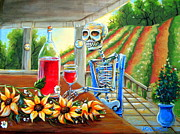 Day Of The Dead Skeleton Posters - Napa Wine Skeleton Poster by Heather Calderon