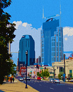 Country Music Town Prints - Nashville Daytime Print by Garland Johnson