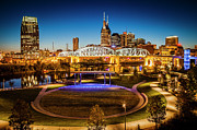 Lighted Street Prints - Nashville Skyline Print by Brian Jannsen