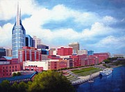 Buildings In Nashville Paintings - Nashville Skyline by Janet King
