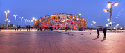 Editorial Photo Framed Prints - National Stadium Panorama Beijing China Framed Print by Colin and Linda McKie