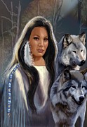 American Culture Painting Prints - Native American Maiden with Wolfs Print by Gina Femrite