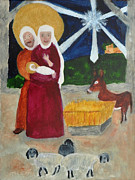 Star Of Bethlehem Painting Posters - Nativity Poster by Phyllis Brady