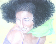 Woman With Black Hair Prints - Natural-li 2 Print by Alicia Lindley