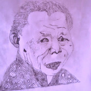 Prisoner Drawings Posters - Nelson Mandela Poster by Barrington Ricketts