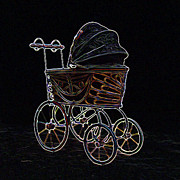 Steampunk Digital Art Prints - Neon Old Baby Carriage Print by Ernie Echols