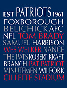 Patriots Digital Art Prints - New England Patriots Print by Jaime Friedman