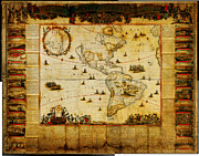 Vintage Map Paintings - New map of all America corrected by F by MotionAge Art and Design - Ahmet Asar