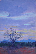 Trees At Sunset Paintings - New Mexico Sunset by Susan Woodward