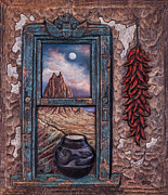 New Mixed Media Framed Prints - New Mexico Window Framed Print by Ricardo Chavez-Mendez