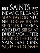 New Orleans Louisiana Framed Prints Posters - New Orleans Saints Poster by Jaime Friedman