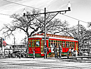 City And Colour Framed Prints - New Orleans Streetcar 2 Framed Print by Steve Harrington