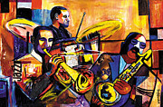 Lino Print Prints - New Orleans Trio 2007 Print by Everett Spruill