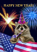 Wildlife Celebration Digital Art - New Years Raccoon by Jeanette K