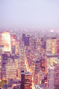 Skylines Metal Prints - New York City - Skyline Lights at Dusk Metal Print by Vivienne Gucwa