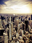 Skylines Metal Prints - New York City Skyscrapers Metal Print by Vivienne Gucwa