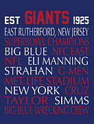 Eli Manning Posters - New York Giants Poster by Jaime Friedman