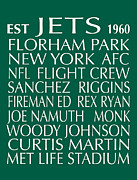 New York Jets Digital Art Posters - New York Jets Poster by Jaime Friedman
