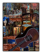 Manhatten Mixed Media Prints - New York New York Print by Suzanne Thomas