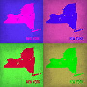 World Map Digital Art Metal Prints - New York Pop Art Map 1 Metal Print by Irina  March