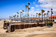 Wooden Building Prints - Newport Beach Dory Fishing Fleet Market Print by Paul Velgos