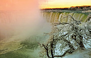 Horseshoe Falls Framed Prints - Niagara Winter Sunset Framed Print by Charline Xia