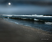 Moonshine On The Beach Prints - Night Beach  Print by Author and Photographer Laura Wrede
